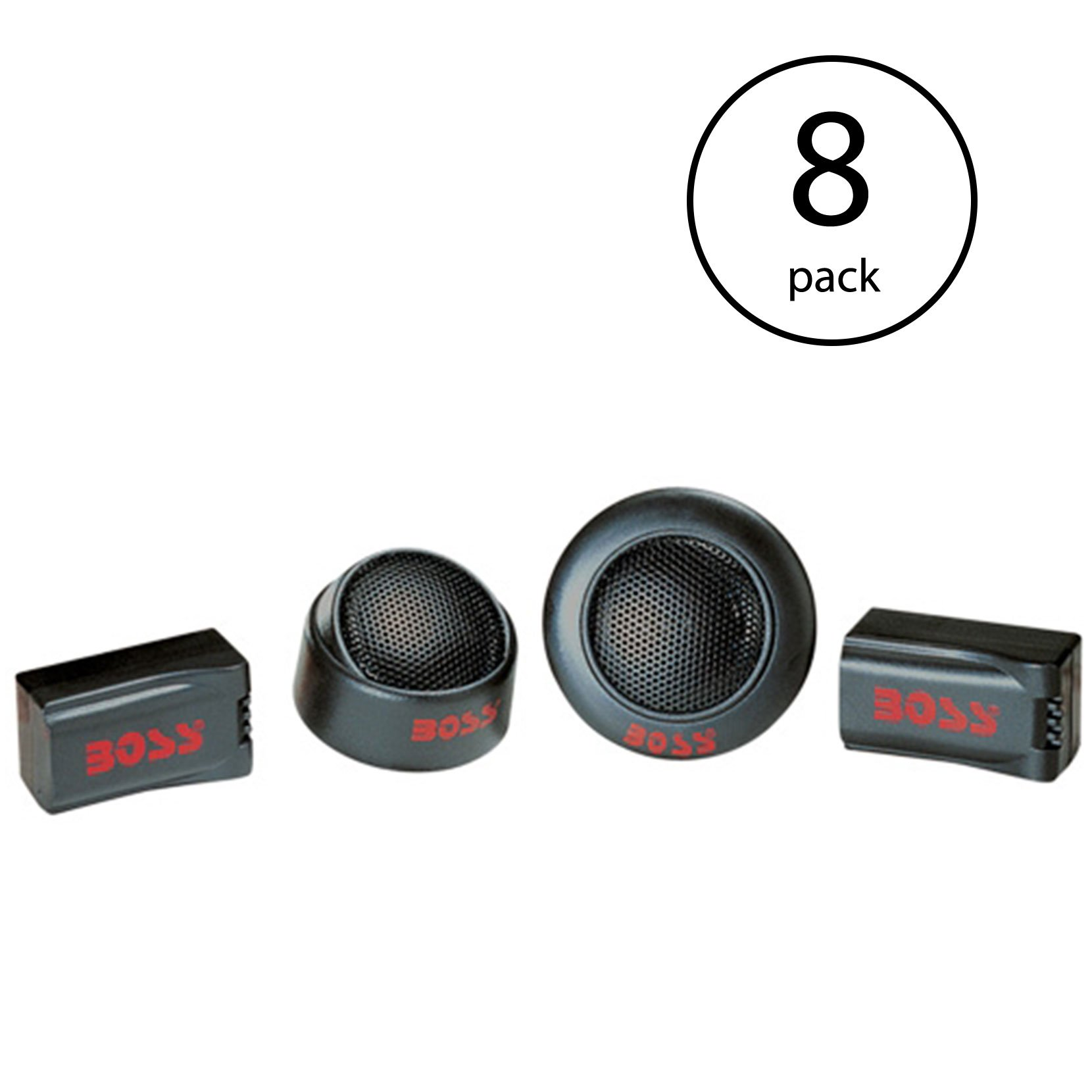 "BOSS TW15B 250W 1"" Micro Dome Car Audio Tweeters Black + Crossovers (8 Pack)"