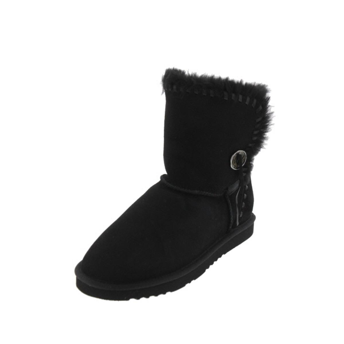 Koolaburra Womens Trishka Short Leather Sheepskin Lined Mid-Calf Boots by Koolaburra
