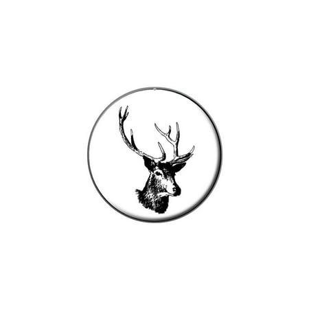 Deer Head - Buck - Deer Hunting Lapel Hat Pin Tie Tack Small Round