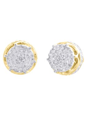 10K Yellow Gold Real Diamond 6-Prong Sutds 8mm Mens 3D Pave Earrings 0.15 CT.