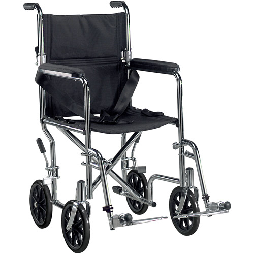 "Drive Medical Go Cart Light Weight Steel Transport Wheelchair with Swing Away Footrest, 19"" Seat"