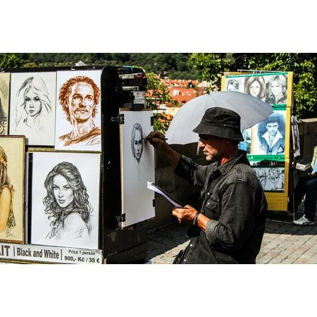 Canvas Print Painter Charles Bridge Artist Street Artist Prague Stretched Canvas 10 x (Painters Canvas Sand)