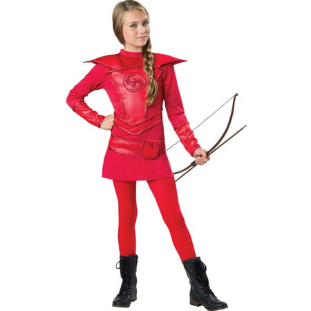 Red Warrior Huntress Child Halloween Costume](Hooded Huntress Child Costume)