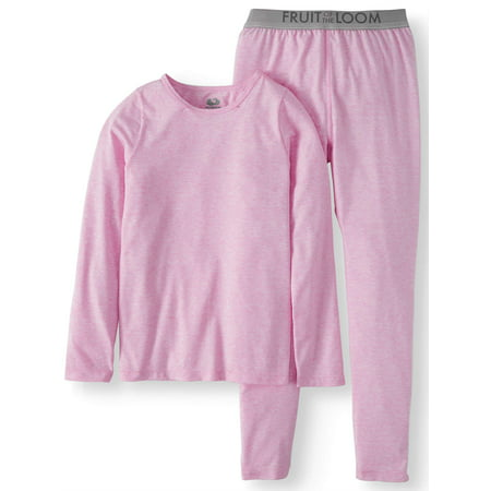 Fruit of the Loom Girls Core Performance Thermal Underwear Set - Girl Clothes 10-12