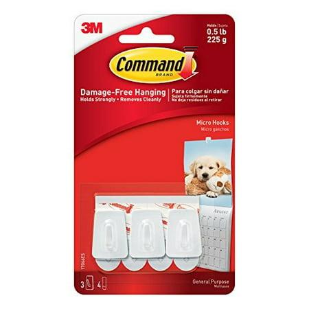 Command White Micro Hooks-White-7 ct 3 hooks 4 strips