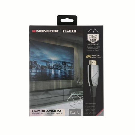 - Monster UHD Platinum Fiber Optic HDMI Cable - 15ft