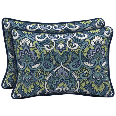 Arden Selections Sapphire Aurora Damask 15 x 22 in. Outdoor Large Lumbar Pillow, Set of 2 ()