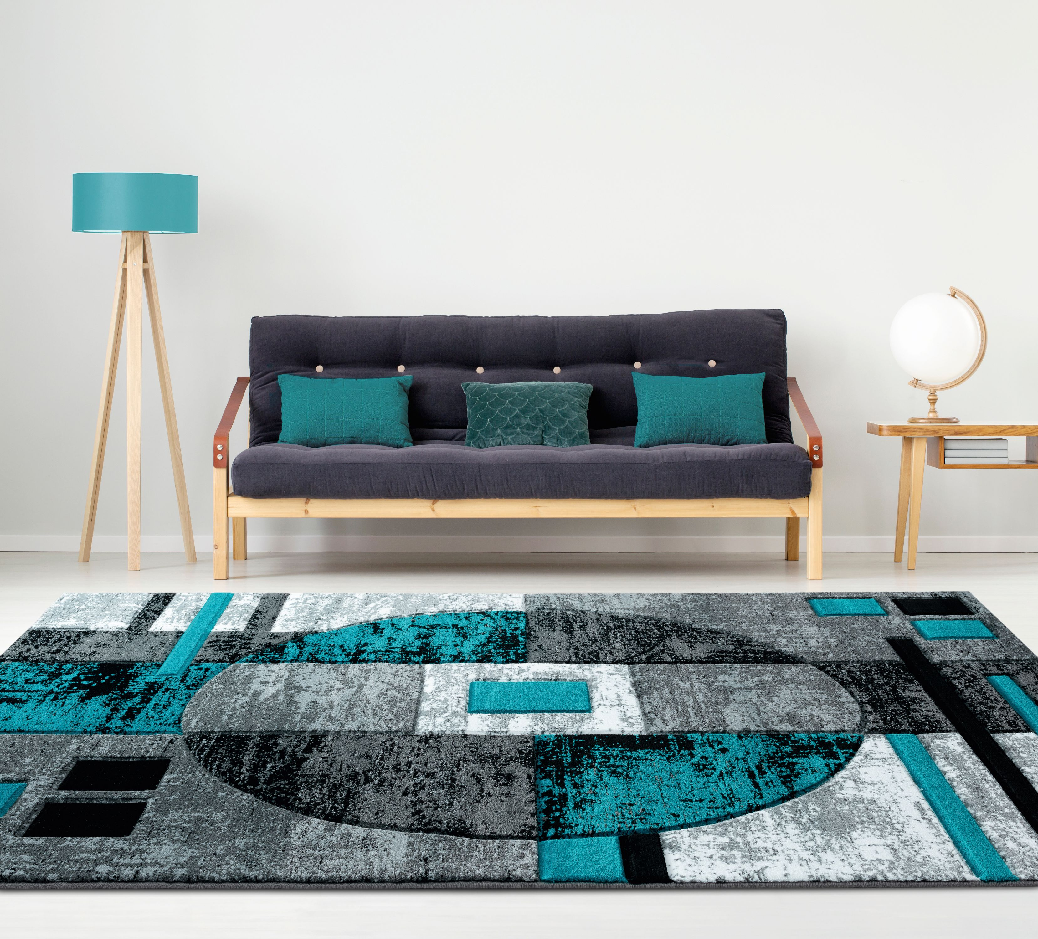 United Weavers Drachma Attica Modern Turquoise Woven Olefin/Polypropylene Area Rug or Runner