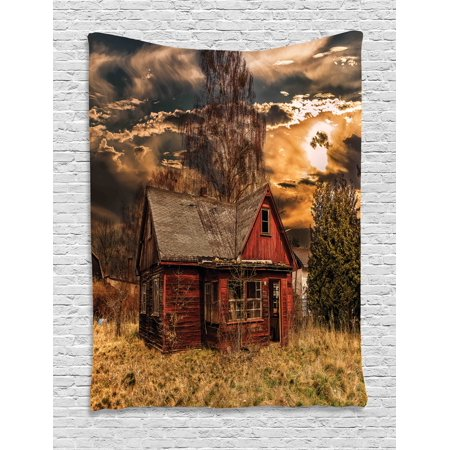 Scenery Decor Tapestry, Scary Horror Movie Themed Abandoned House in Pale Grass Garden Sunset Photo, Wall Hanging for Bedroom Living Room Dorm Decor, 40W X 60L Inches, Multicolor, by Ambesonne