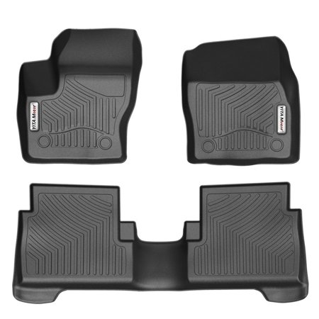Car Floor Mats, Front and Rear 2 Rows Heavy Duty Rubber Floor liners Custom Fit Vehicle 2015-2018 Ford Escape/2013-2018 C-MAX, All Weather/Season Floor Protection, Black