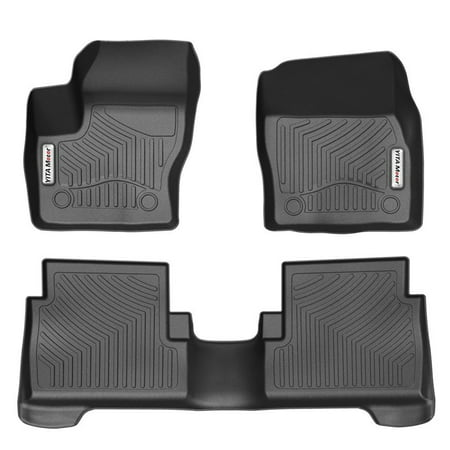 (Car Floor Mats, Front and Rear 2 Rows Heavy Duty Rubber Floor liners Custom Fit Vehicle 2015-2018 Ford Escape/2013-2018 C-MAX, All Weather/Season Floor Protection, Black)