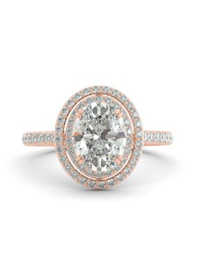 2.34 ct Oval Classic Moissanite & Round Diamond Engagement Ring 14k Rose Gold