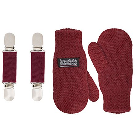 SANREMO Unisex Kids Toddler Knitted Fleece Lined Warm Winter Mittens and Mitten Clips Set (1-3 Years, Maroon)