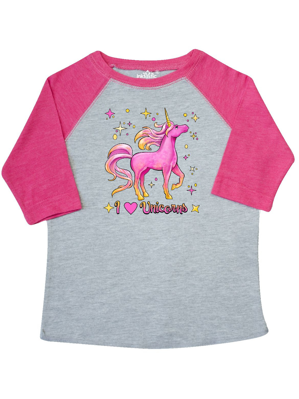 I Love Unicorns- pink and yellow Toddler T-Shirt