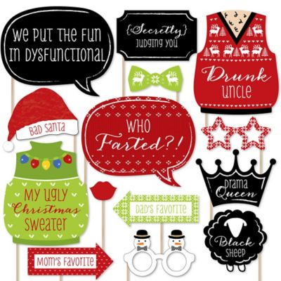 Christmas Family Reunion - Fun Family Theme Holiday Party Photo Booth Props Kit - 20 Count ()