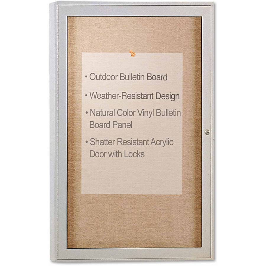 "Ghent Enclosed Outdoor Bulletin Board, 36"" x 24, Satin Finish"