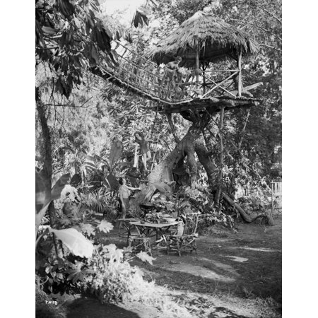 - Johnny Weissmuller sitting on a Hanging Bridge in a Movie Scene Photo Print