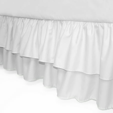 American Baby Company Double Layer Ruffled Crib Skirt, White, for Boys and Girls