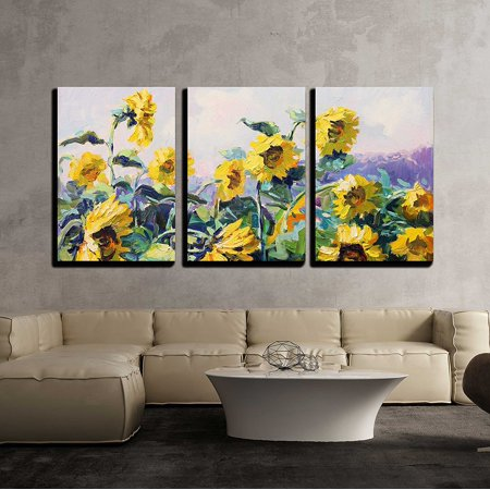 wall26 - 3 Piece Canvas Wall Art - Sunflower - Modern Home Decor Stretched and Framed Ready to Hang - 24
