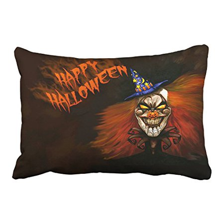 WinHome Cartoon Happy Halloween Scary Witch Dark Decorative Pillowcases With Hidden Zipper Decor Cushion Covers Two Side 20x30 inches