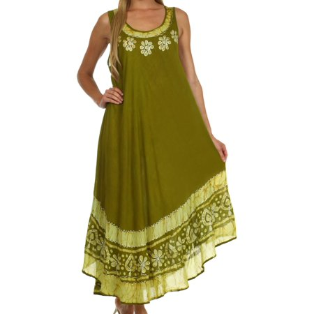 Sakkas Batik Flower Caftan Tank Dress / Cover Up - Avocado - One