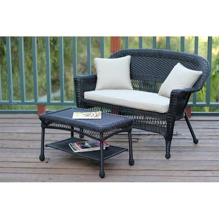 Jeco W00207-LCS006 Black Wicker Patio Love Seat And Coffee Table Set With Tan Cushion