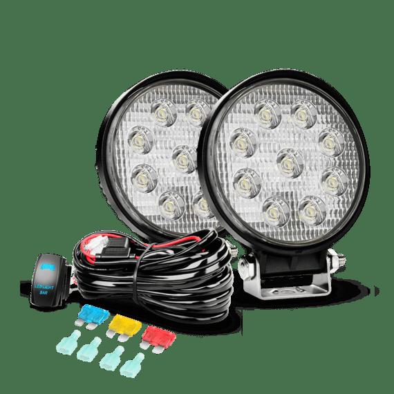 Nilight 2PCS 27W Flood LED Lights & 12V 5Pin Rocker Switch LED Light Bar Wiring Harness Kit , 2 Years Warranty