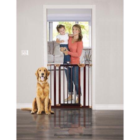 Baby Trend Pressure Fit Wood & Metal Safety Gate, Dark Hardwood