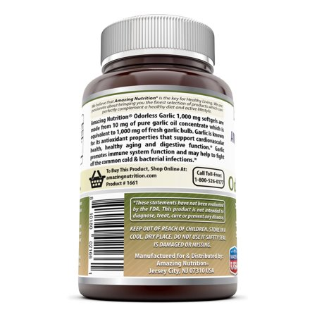 Amazing Formulas Inodore Ail - 1000 mg, 120 gélules