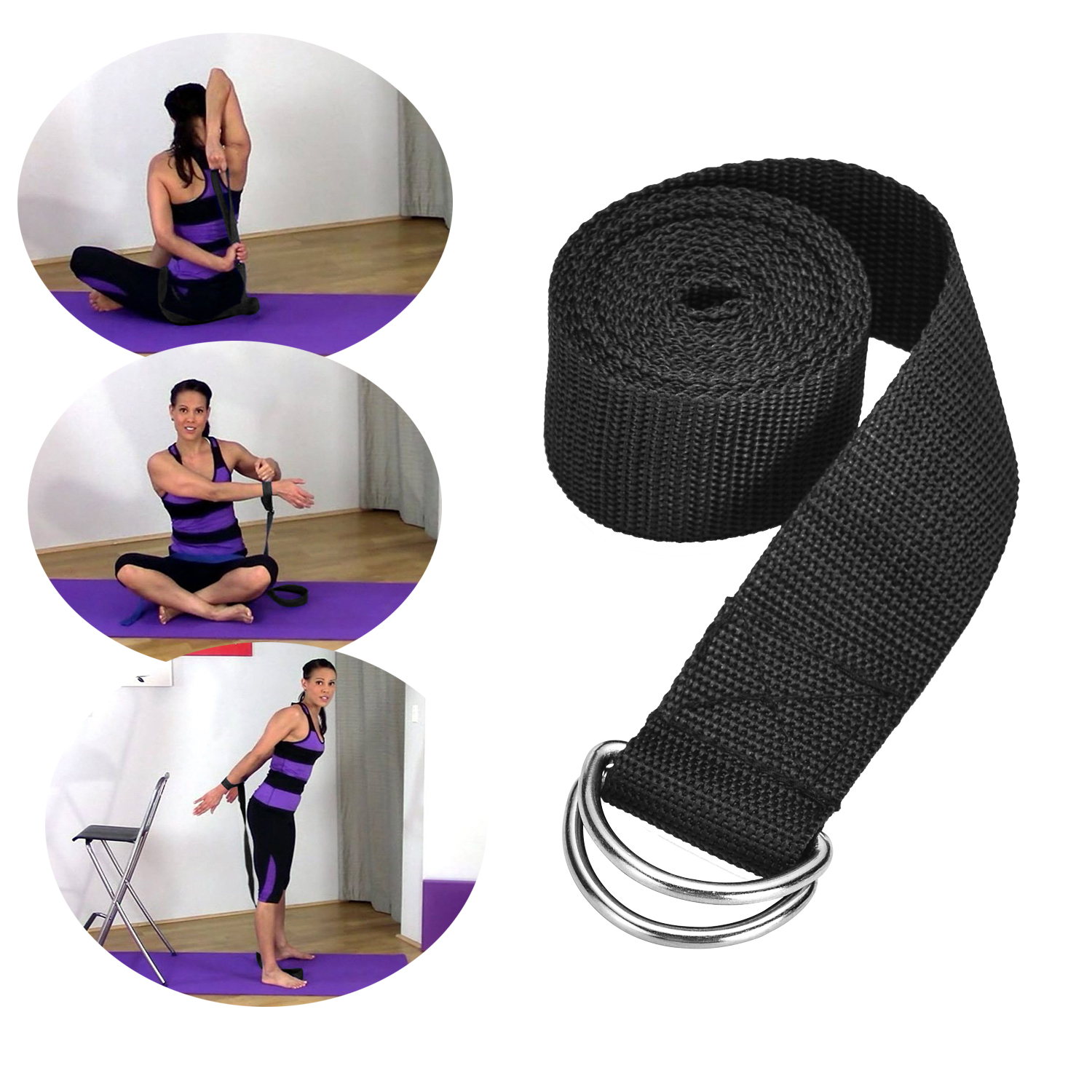 "72 "" Yoga Strap Exercise Stretch Band w/ D-Rings Flexibility Strength Aid Two Color"