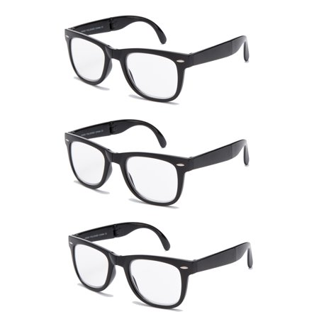 3 Pairs Folding Reading Glasses - Comfortable Stylish Simple Readers Rx Magnification