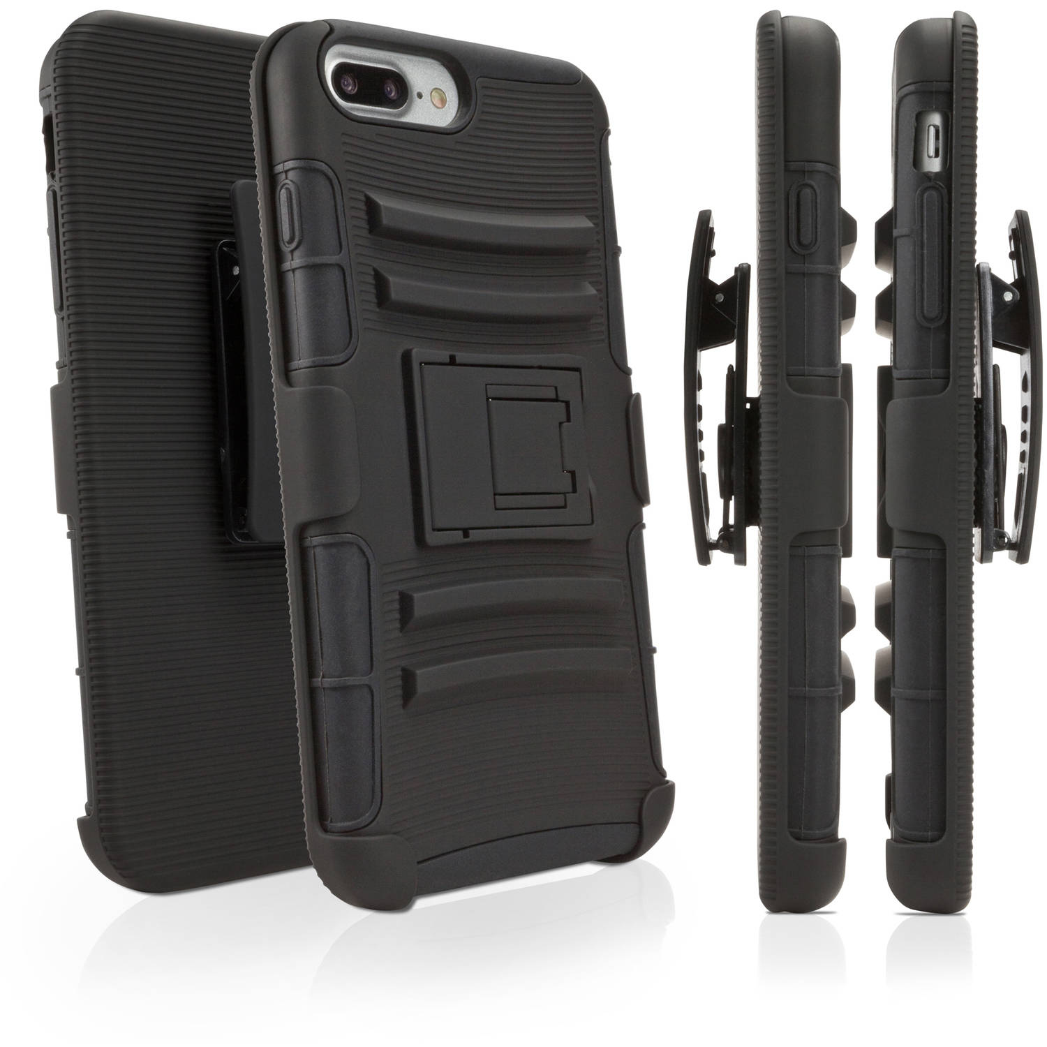 BoxWave Dual+ Max Holster Shell Cover and Belt Clip Holster with Kickstand for Apple iPhone 7 Plus, Black