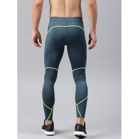 8e050aec92dc5 HRX by Hrithik Roshan Men Teal Blue & Fluorescent Green Solid Compression  Training Tights - image ...