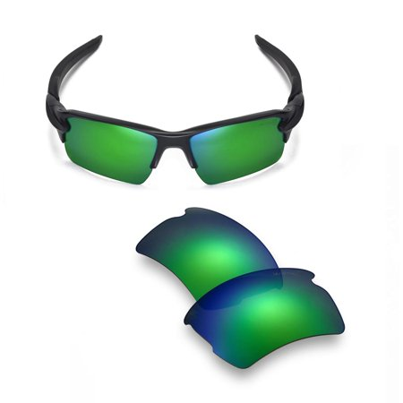 Walleva Emerald Mr. Shield Polarized Replacement Lenses for Oakley Flak 2.0 XL (Emerald Sunglasses)