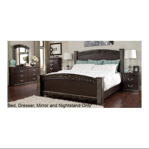 Ashley  Vachel Collection B26461676498313692 4-Piece Bedroom Set with Queen Size Poster Bed  Dresser  Mirror and