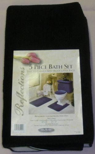 5 PIECE BATH RUG TANK LID and TANK COVER SET LID CONTOUR
