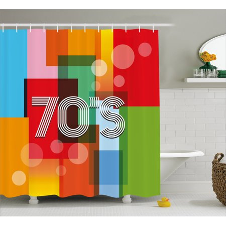 70s Backdrop (70s Party Shower Curtain, Retro Groovy Art Backdrop Colorful Geometric Abstract Striped Old Fashioned Love, Fabric Bathroom Set with Hooks, Multicolor, by)