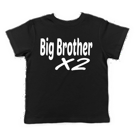 Lil Shirts Big Brother X 2 Little Boys Youth and Toddler Shirt~2T / Black