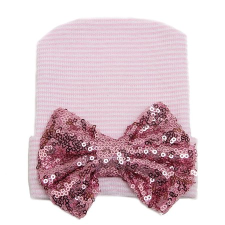 Baby Infant Girls Stripe Sequined Bowknot Hospital Beanie Hat Cotton Knit Cap - image 3 of 5