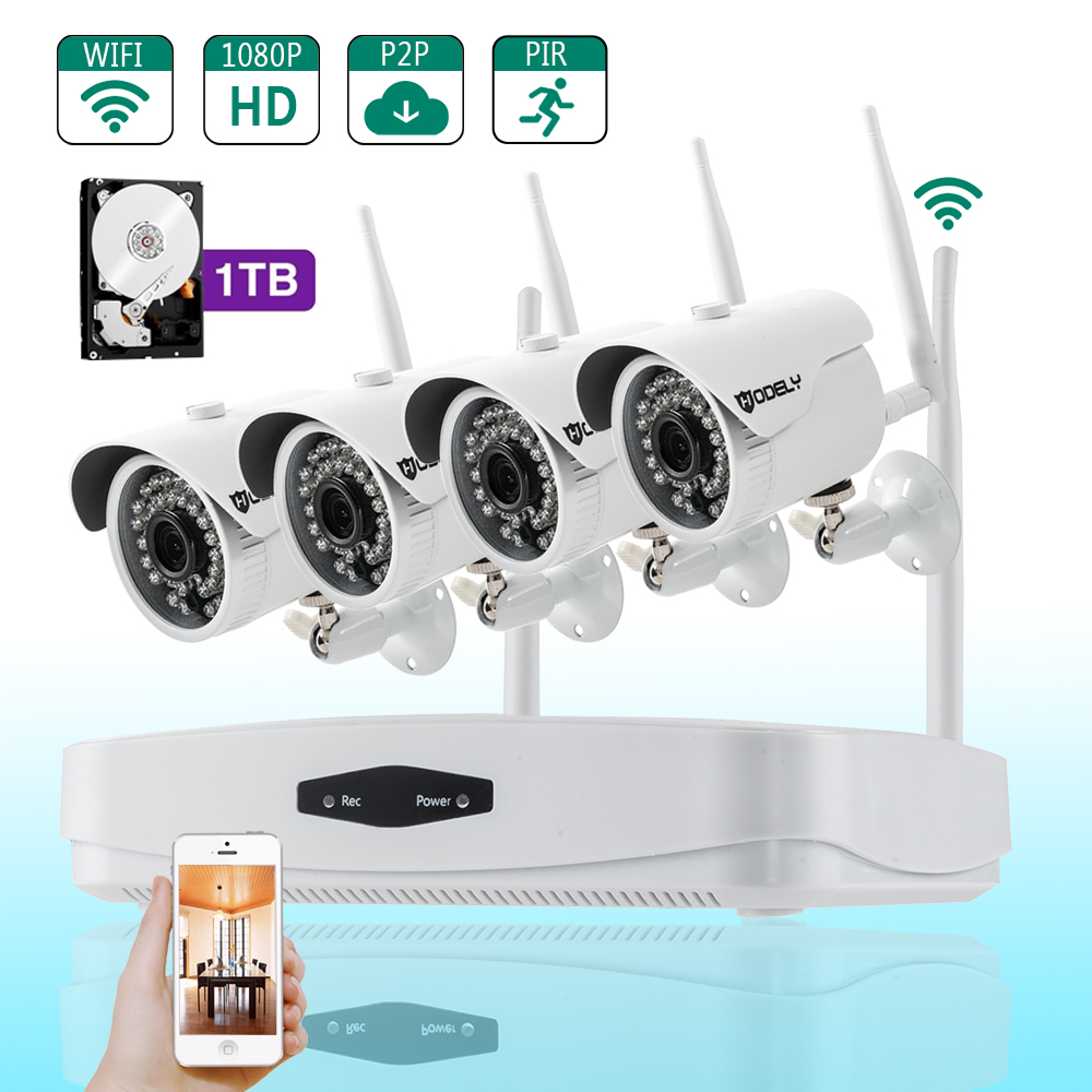 Ktaxon Wireless HD 1080p 4 Channel 1TB HDD NVR Security System with 4 WIFI Security Cameras
