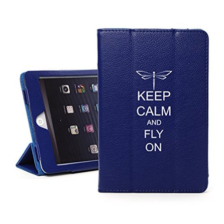 For Apple iPad Mini 4 Blue Leather Magnetic Smart Case Cover Keep Calm and Fly On Dragonfly