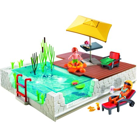 Playmobil swimming pool with terrace for Piscine playmobil