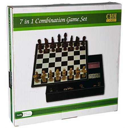 Black Leatherette Chess - CHH 2149L 7 In 1 Black Leatherette Game Set