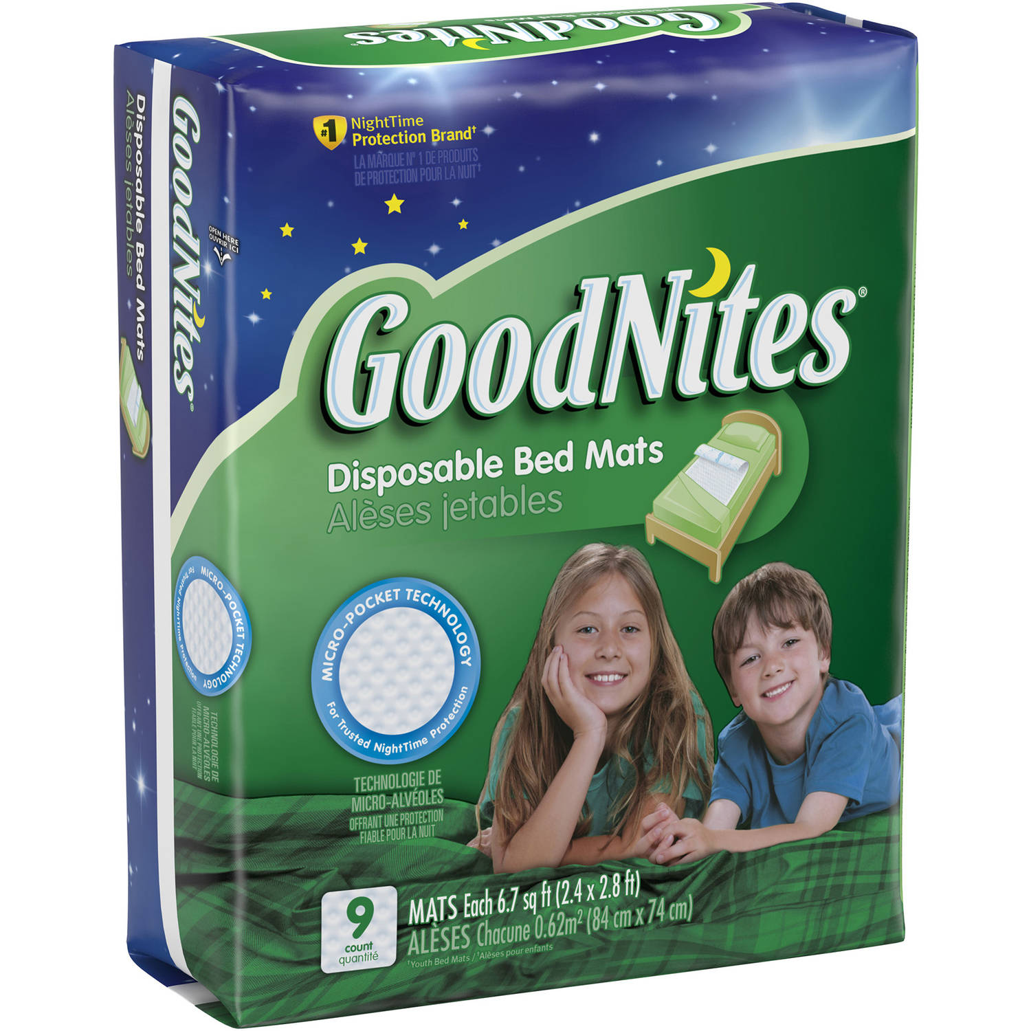 GoodNites Disposable Bed Mats, Jumbo Pack 9 Count