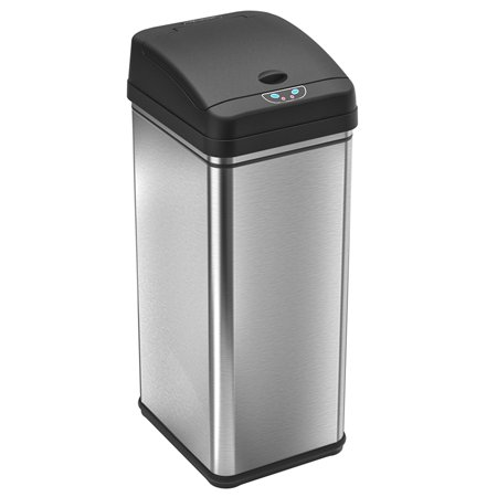 iTouchless 13 Gallon Touchless Sensor Kitchen Trash Can, Stainless Steel, Odor Filter