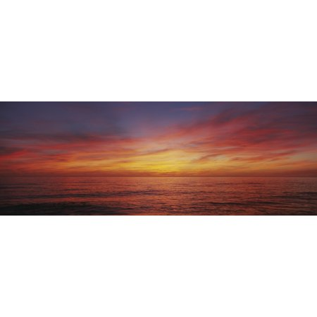 Sunset Over A Sea Gulf Of Mexico Venice Beach Venice Florida USA Stretched Canvas - Panoramic Images (36 x 12)
