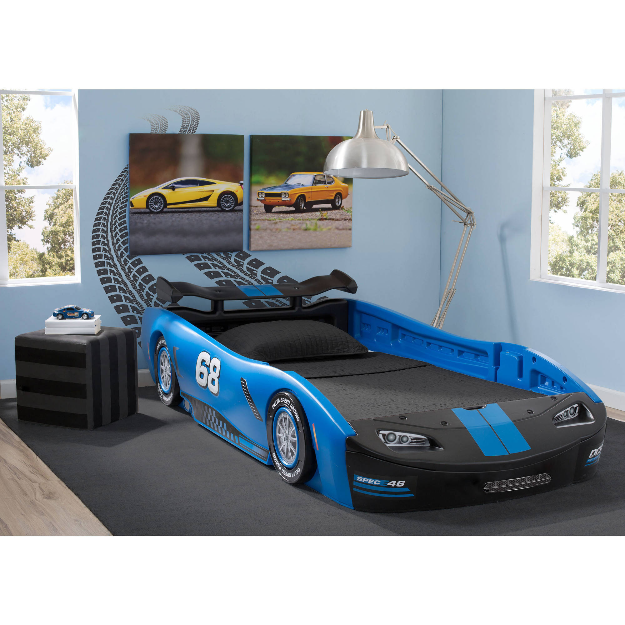 Delta Children Turbo Race Car Twin Bed with Mattress Bundle
