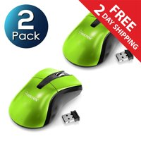 2 Pack Insten Green 2.4G Cordless 4 Keys Wireless Optical Gaming Mouse with 800 1200 1600 DPI For Computer Laptop Desktop PC Game