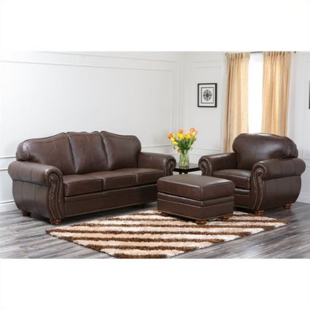 Fabulous Abbyson Living Pearla 3 Piece Leather Sofa Set In Dark Truffle Gmtry Best Dining Table And Chair Ideas Images Gmtryco