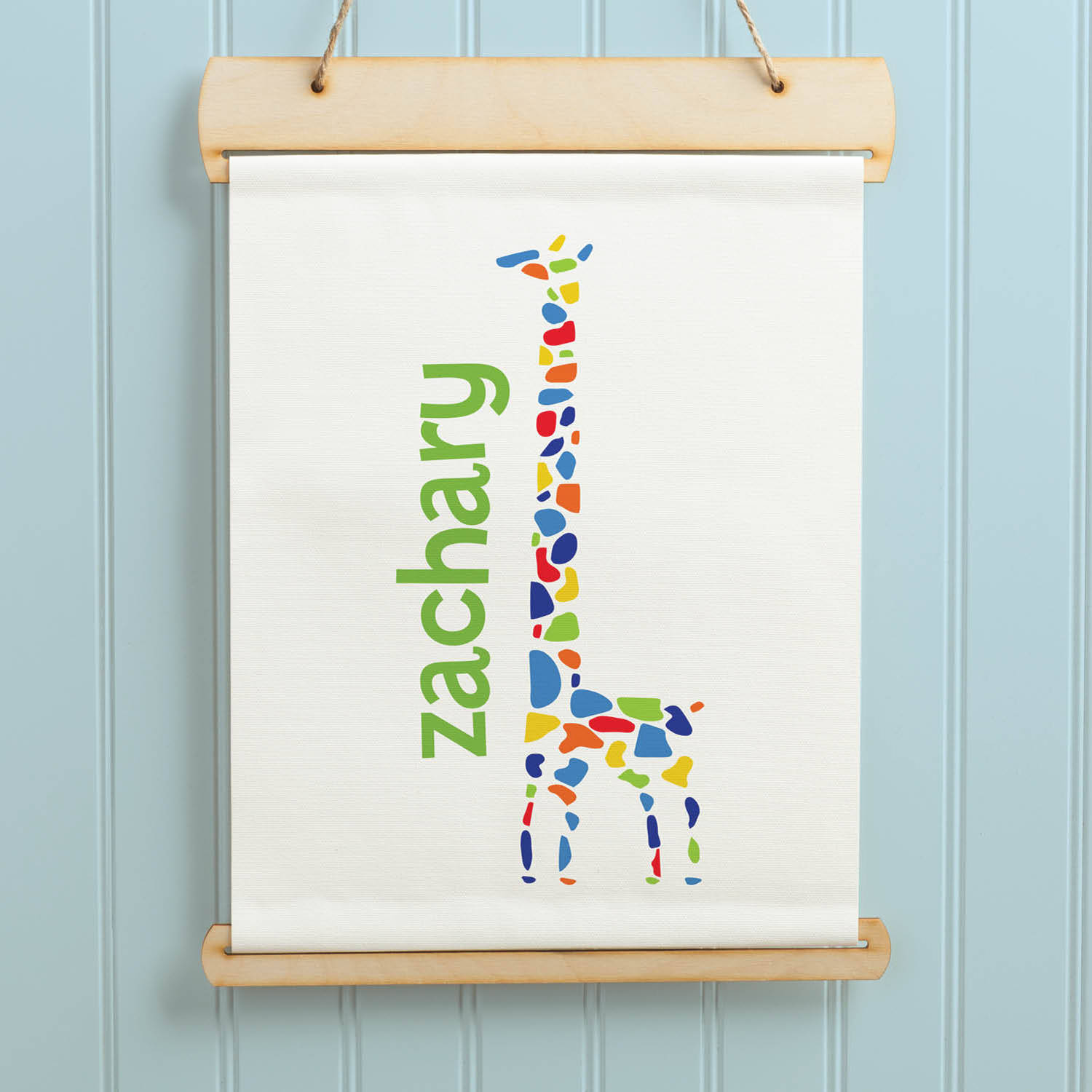 Sweet Boy or Girl Giraffe Personalized Hanging Canvas Banner